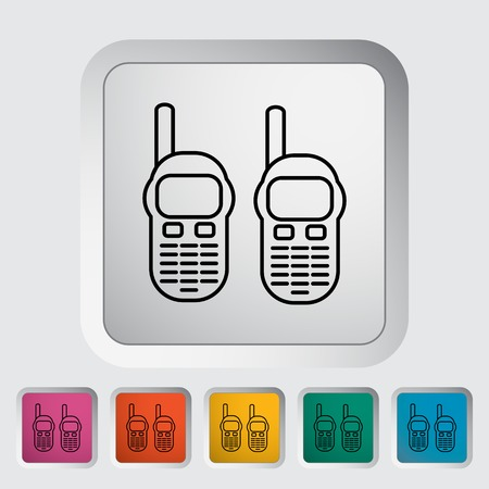 Portable radio. Outline icon on the button. Vector illustration.