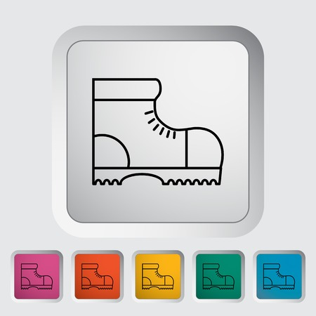 Hiking shoes. Outline icon on the button. Vector illustration.  イラスト・ベクター素材