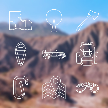 Set of Outline stroke Camping icons on blurred background. Vector illustration Vector