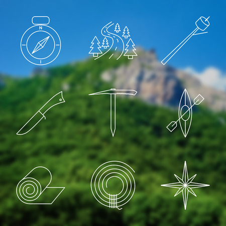 ice axe: Set of Outline stroke Camping icons on blurred background. Vector illustration