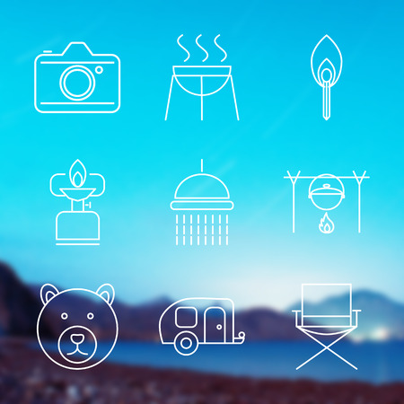 gas barbecue: Set of Outline stroke Camping icons on blurred background. Vector illustration