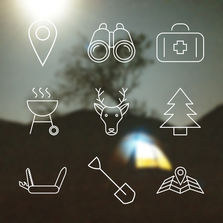 sumbol: Set of Outline stroke Camping icons on blurred background. Vector illustration