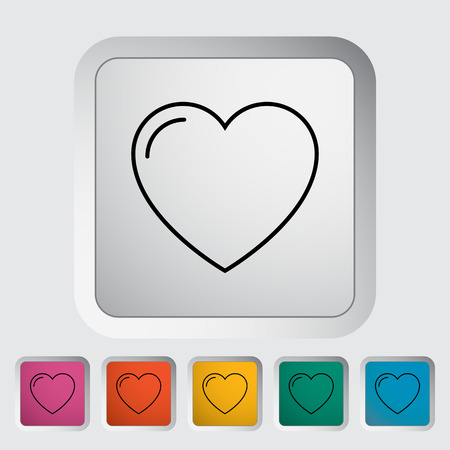 heart outline: Heart. Outline icon on the button. Vector illustration.