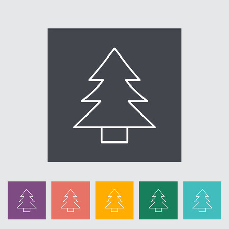 conifer: Conifer outline icon on the button. Vector illustration. Illustration