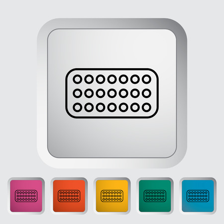 contraceptive: Contraceptive pills. Outline icon on the button. Vector illustration.