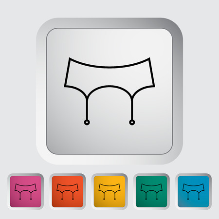garter belt: Garter belt. Outline icon on the button. Vector illustration.