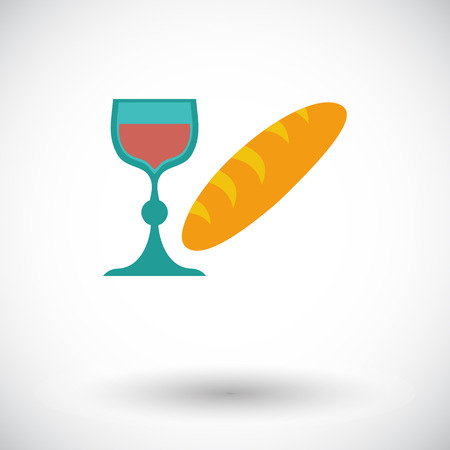 Bread and wine. Single flat icon on white background. Vector illustration. Illustration