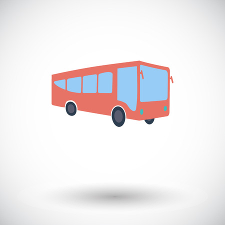 Bus. Single flat icon on white background. Vector illustration. Vector