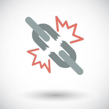 broken link: Conexi�n rota. Solo icono de plano sobre fondo blanco. Ilustraci�n del vector. Vectores