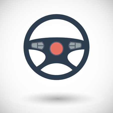 Car Steering Wheel. Single flat icon on white background. Vector illustration. Vector