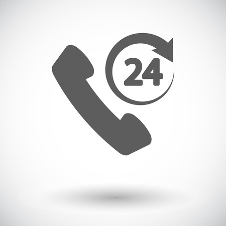 callcenter: Support 24 hours. Single flat icon on white background. Vector illustration.