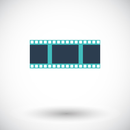 35mm film motion picture camera: Film. Solo icono de plano sobre fondo blanco. Ilustraci�n del vector.