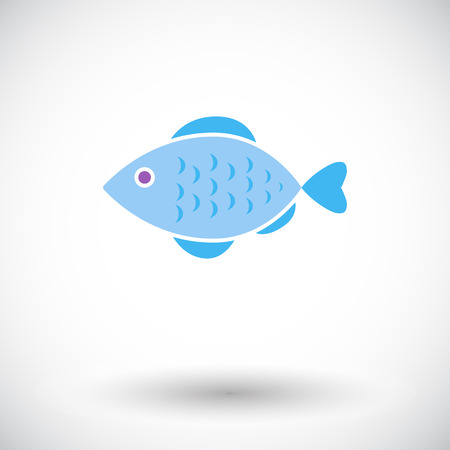 Fish. Single flat icon on white background. Vector illustration. Vector