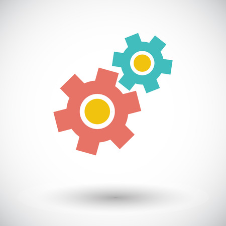 Gear. Single flat icon on white background. Vector illustration. Vector