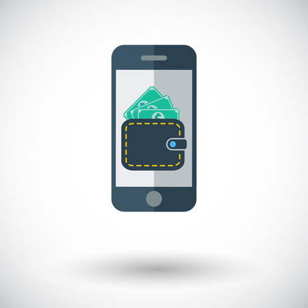 charges: Phone with wallet. Single flat icon on white background. Vector illustration.