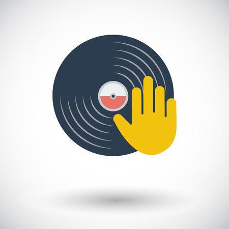 Vinyl disc whit hand. Single flat icon on white background. Vector illustration.