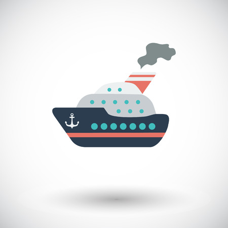 Ship. Single flat icon on white background. Vector illustration. Vector