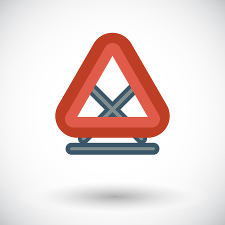 Warning triangle. Single flat icon on white background. Vector illustration. Vector