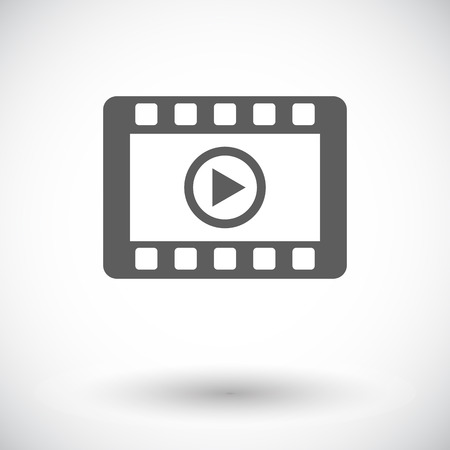windows media video: V�deo. Solo icono de plano sobre fondo blanco. Ilustraci�n del vector.