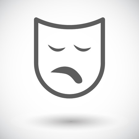 theather: Theatrical mask. Single flat icon on white background. Vector illustration.