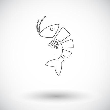 exoskeleton: Shrimp. Single flat icon on white background. Vector illustration.
