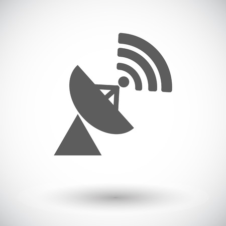 Satellite antenna. Single flat icon on white background. Vector illustration. Vector