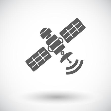 Satellite. Single flat icon on white background. Vector illustration. Vector