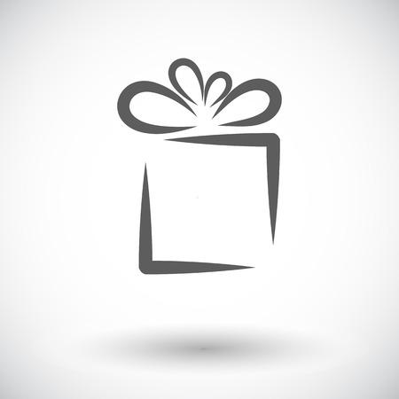 Gift box. Single flat icon on white background. Vector illustration.
