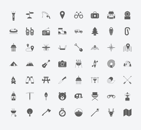 summer season: Set of Camping icons on white background.