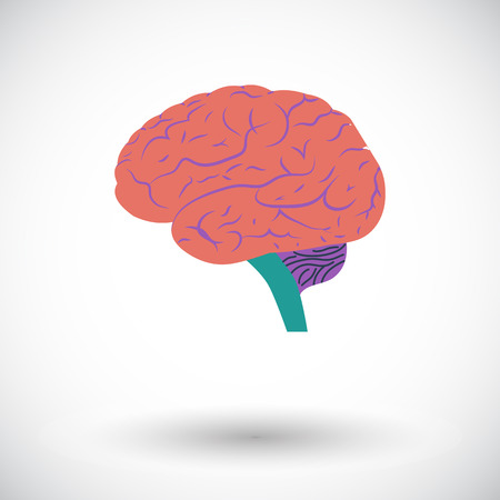 Human brain. Single flat icon on white background.  Vector