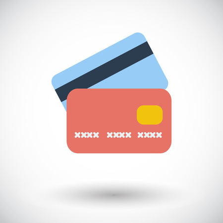 debit cards: Credit card. Single flat icon on white background.