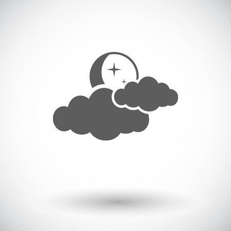 meteorological: Night sky. Single flat icon on white background. Vector illustration.