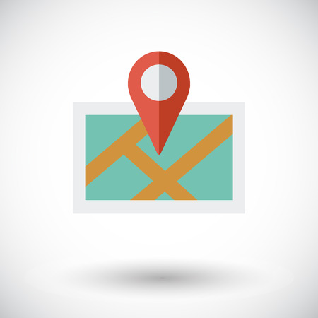 Map with pin. Single flat icon on white background. Vector