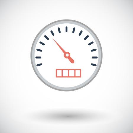 kph: Speedometer. Single flat icon on white background.