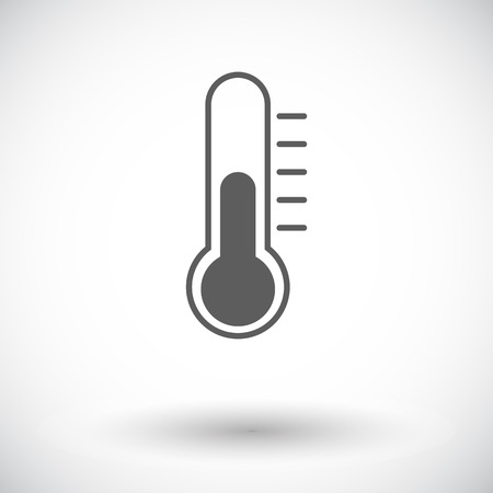 Thermometer. Single flat icon on white background.  Vector
