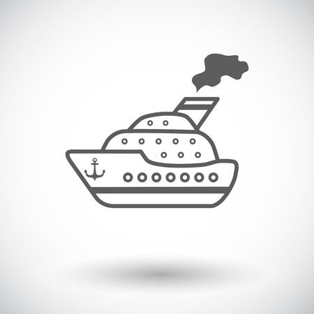 Ship. Single flat icon on white background.  Vector