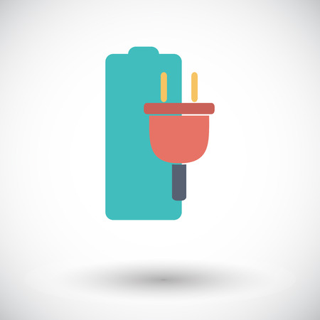 Charging the battery. Single flat icon on white background. Vector illustration. Vector