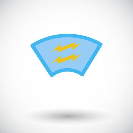 windscreen: Heating automotive glass. Single flat icon on white background. Vector illustration. Illustration