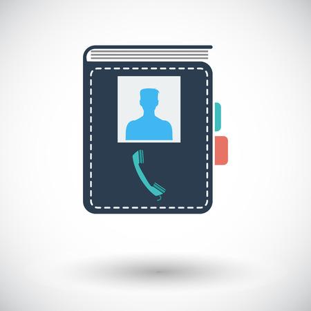 contact book: Contacto libro. Solo icono de plano sobre fondo blanco. Ilustraci�n del vector.