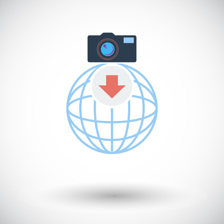 Photo download. Single flat icon on white background. Vector illustration. Vector