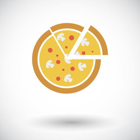 Pizza. Single flat icon on white background. Vector illustration. Vector