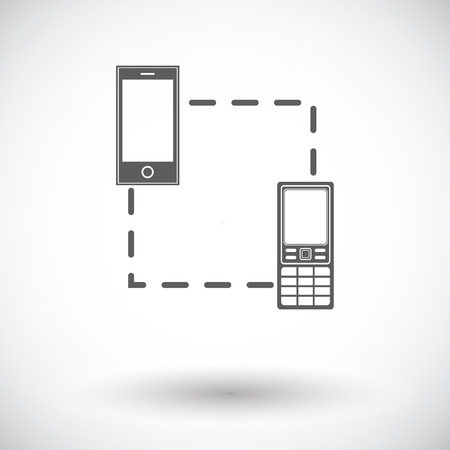 sync: Phone sync. Single flat icon on white background. Vector illustration.