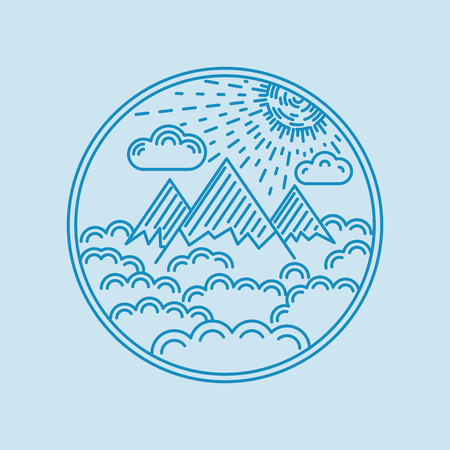Flat linear landscape badge whit mountain, cloud, and sun. Vector illustration. Vector
