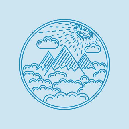 logotipo turismo: Piso lineal insignia pizca del paisaje de montaña, nubes, y el sol. Ilustración del vector.