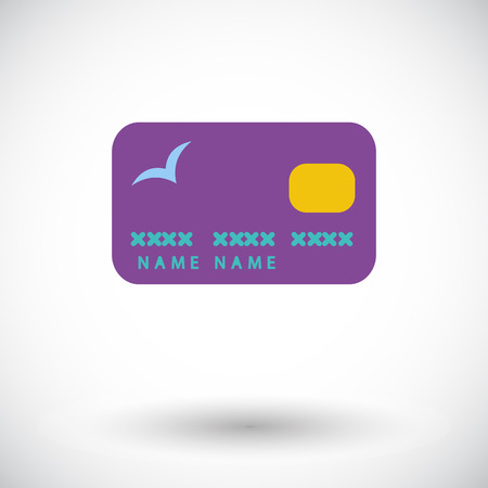 Credit card. Single flat icon on white background.  Vector