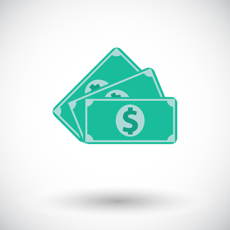 Dollar. Single flat icon on white background.  Vector