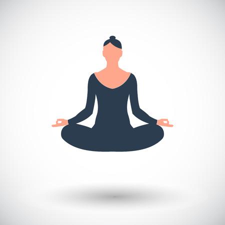 Yoga Single flat icon on white background.  Vector