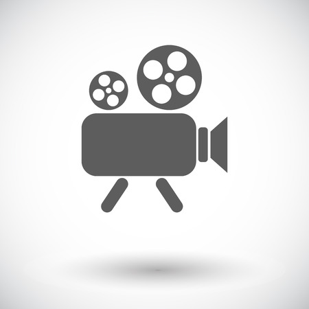 Video camera. Single flat icon on white background. Vector