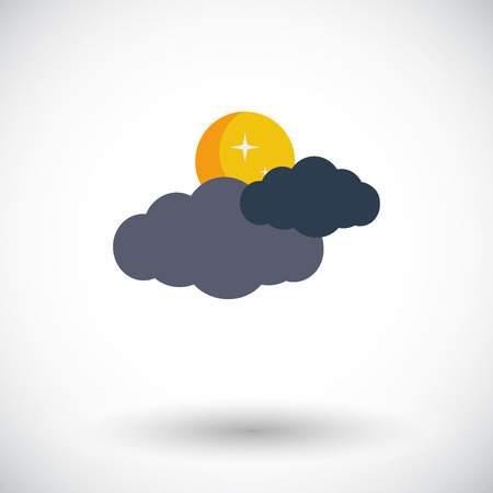 meteorological: Cloud, moon, star. Single flat icon on white background.