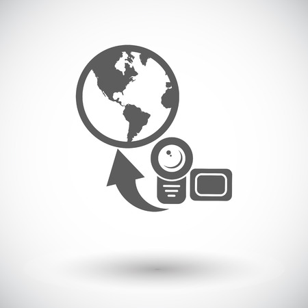 Upload video. Single flat icon on white background.  Vector